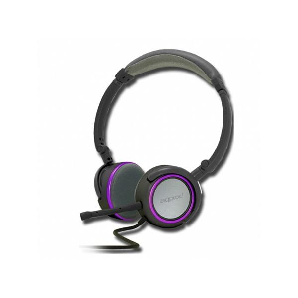 APPROX APPHS05PP Sztereo fejhallgató leválasztható mikrofonnal (2m kábel, 2db 3,5mm Jack) Lila