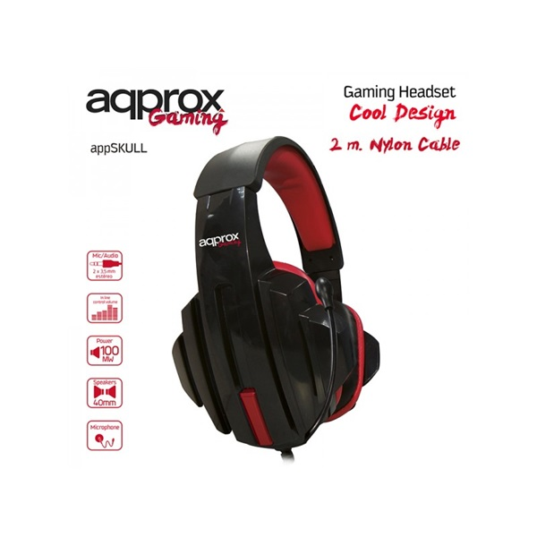 APPROX APPSKULL Gaming Headset Skull (40mm sztereó hangszoró, 2m kábel) Fekete-Piros