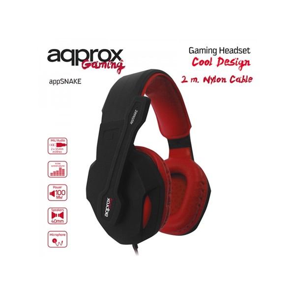 APPROX APPSNAKE Gaming Headset Snake (40mm sztereó hangszoró, 2m kábel) Fekete-Piros