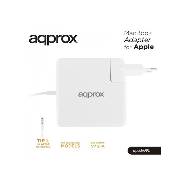 APPROX APPUAAPL Apple Macbook töltő 45W (14.5V, 3.1A) 60W (16.5V,3.65A) 85W (18.5V, 4.6A) + USB port