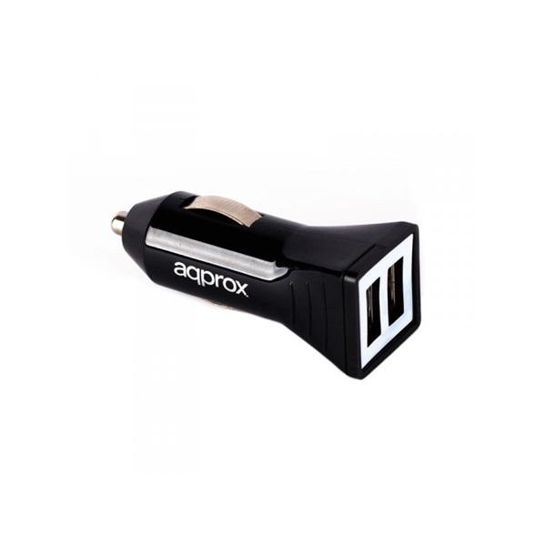 APPROX APPUSBCAR31B  Autós töltő 5V/3.1A (2db USB2.0) Fekete