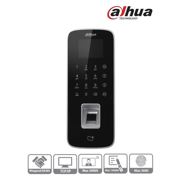 Dahua ASI1212D beléptető vezérlő, LCD kijelző, Mifare(13,56MHz)+kód+ujjlenyomat, RS-485/Wiegand/RJ45
