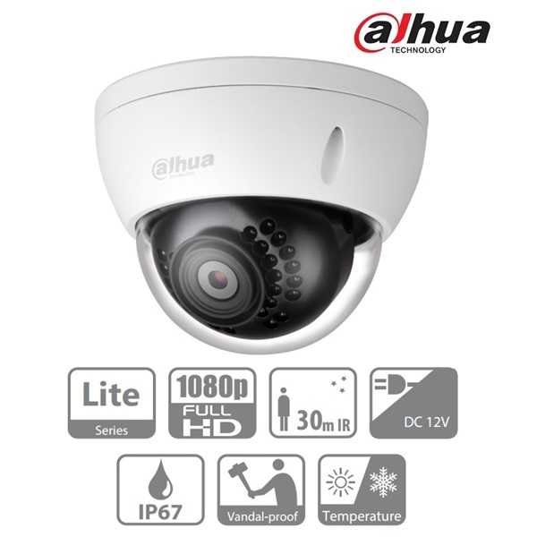 Dahua HAC-HDBW1200E-S3 Dome AHD/CVI/TVI/CVBS kamera, kültéri, 1080P, 6mm, IR30m, ICR, IP67, DWDR, IK