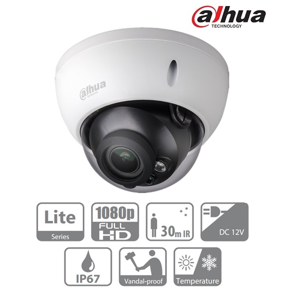 Dahua HAC-HDBW1200R-VF-S3 Dome AHD/CVI/TVI/CVBS kamera, kültéri, 1080P, 2,7-12mm, IR30, ICR, IP67, D
