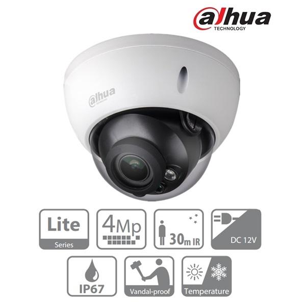 Dahua HAC-HDBW1400R-VF Dome AHD/CVI/TVI/CVBS kamera, kültéri, 4MP, 2,7-13,5mm, IR30, ICR, IP67, DWDR