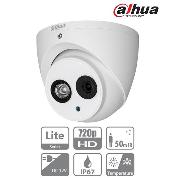Dahua HAC-HDW1100EM-S3 Turret AHD/CVI/TVI/CVBS kamera, kültéri, 720P, 3,6mm, IR50m, ICR, IP67, DWDR