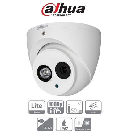 Dahua 4in1 Analóg turretkamera - HAC-HDW1200EM-A (2MP, 2,8mm, kültéri, IR50m, ICR, IP67, DWDR, audio)