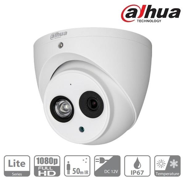 Dahua HAC-HDW1220EM-A Turret kamera, kültéri, 1080P, 2,8mm, IR50m, ICR, IP67, DWDR, audio, AHD/CVI/T