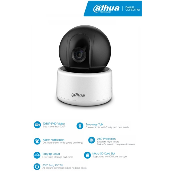 Dahua IPC-A22 IP PT Dome kamera, beltéri, 2MP, 3,6mm, H264, IR10m, D&N(ICR), DWDR, SD, wifi, audio,