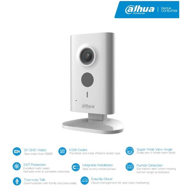 Dahua IPC-C46 IP Cube kamera, beltéri, 4MP, 2mm, H265, IR10m, D&N(ICR), DWDR, SD, wifi, audio, 5VDC