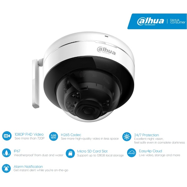 Dahua IPC-D26 IP Dome kamera, kültéri, 2MP, 2,8mm, H265, IR30m, D&N(ICR), IP67, DWDR, SD, wifi, audi