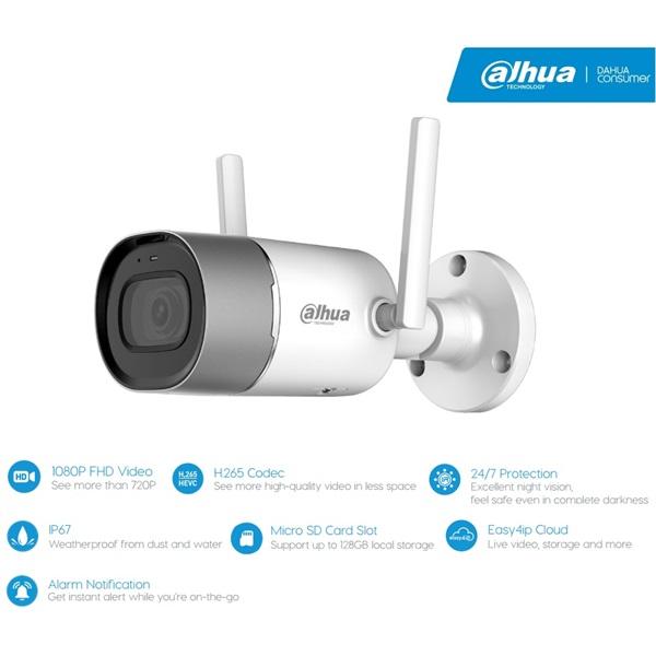 Dahua IPC-G26 IP Bullet kamera, kültéri, 2MP, 2,8mm, H265, IR30m, D&N(ICR), IP67, DWDR, SD, wifi, au