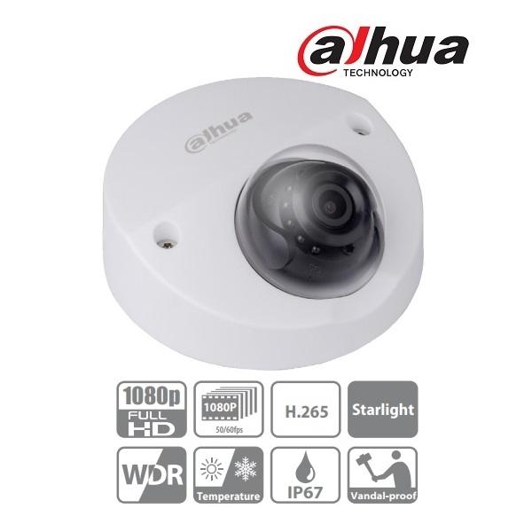 Dahua IPC-HDBW4231F-AS IP Mini dome kamera, kültéri, 2MP/60fps, 2,8mm, H265+, IR20m, D&N(ICR), IP67,