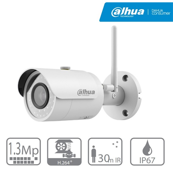 Dahua IPC-HFW1120S-W IP Bullet kamera, kültéri, 1,3MP, 2,8mm, H264, IR30m, D&N(ICR), IP67, DWDR, SD,