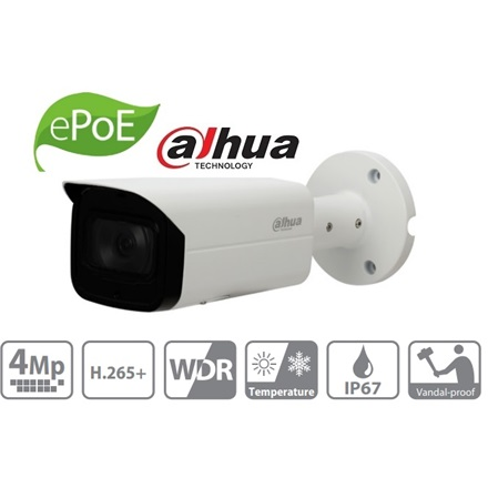Dahua IP csőkamera - IPC-HFW4431T-ASE (4MP, 3,6mm, kültéri, H265+, IP67, IR60m, ICR, WDR, SD, PoE, I/O, audio, IK10)