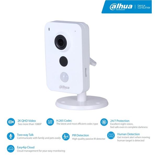 Dahua IPC-K46 Cube kamera, beltéri, 4MP, 2,8mm, H265, IR10m, D&N(ICR), DWDR, SD, wifi, audio, I/O, P