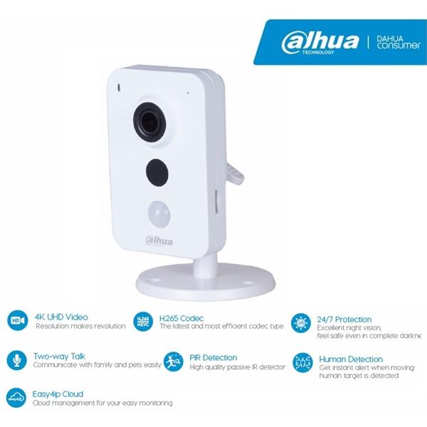 Dahua IPC-K86 Cube kamera, beltéri, 8MP, 2,8mm, H265, IR10m, D&N(ICR), DWDR, SD, wifi, audio, I/O, P