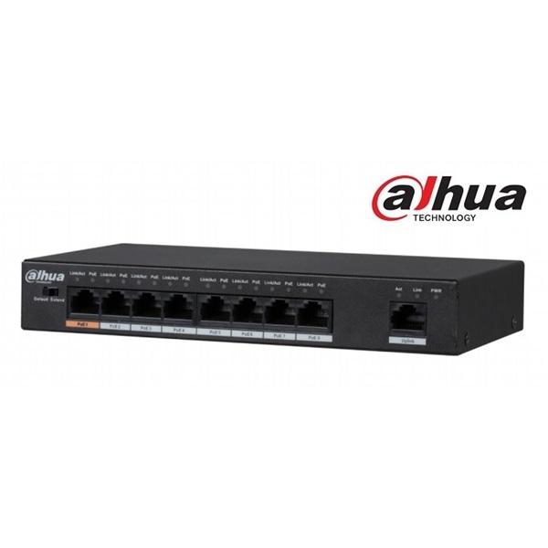 Dahua PFS3009-8ET-96  PoE switch, 1x 10/100 (HighPoE/PoE+/PoE) + 7x 10/100(PoE+/PoE) + 1x 10/100 upl
