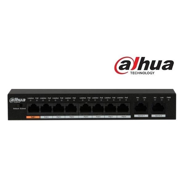 Dahua PFS3010-8ET-96  PoE switch, 1x 10/100 (HighPoE/PoE+/PoE) + 7x 10/100(PoE+/PoE) + 2x 10/100 upl