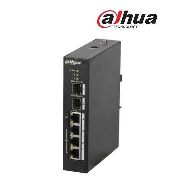 Dahua PFS4206-4P-120 menedzselhető Poe switch, 3x 10/100(PoE+/PoE) + 1x gigabit(HighPoE/PoE+/PoE + 2