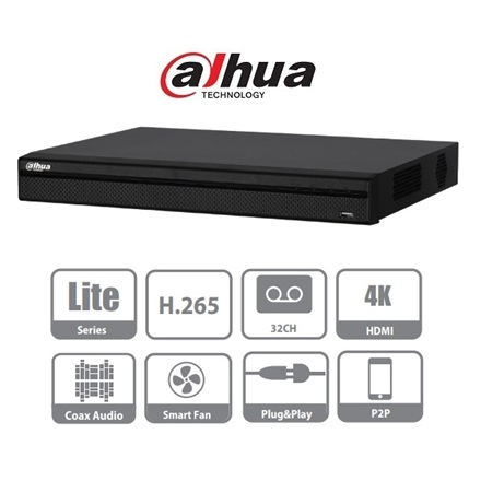Dahua XVR Rögzítő - XVR5232AN-X (32 port, 4MP/480fps, 2MP/480fps, 720P/800fps H265+, 2x Sata, HDMI, audio)