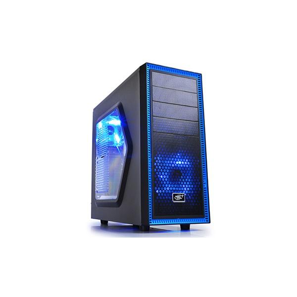 DeepCool Számítógépház - TESSERACT SW (fekete, ablakos, fekete belső, 2x12cm ventilátor, ATX, mATX,