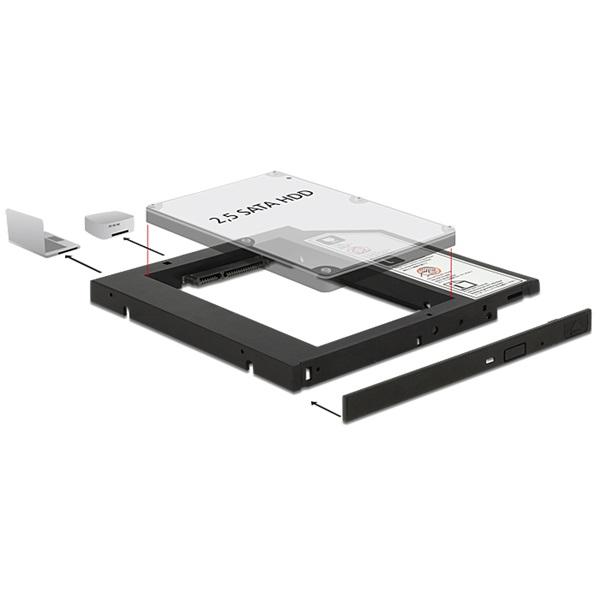 """Delock 62669 Vékony kialakítású SATA 5.25""""-es keret 1 x 2.5""""-es SATA HDD-hez legfeljebb 9,5 mm"""