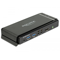 Delock KVM Switch - 11467 (2 port, Display Port,  USB 3.0, audio, fekete)