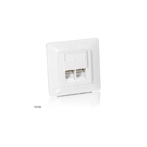 Equip 125765 STP Cat6 fali doboz 80x80, 2 port, süllyesztett, fehér