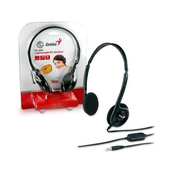 Genius HS-M200C Fejhallgató (3.5mm Jack, hangerőszabályozó, mikrofon)