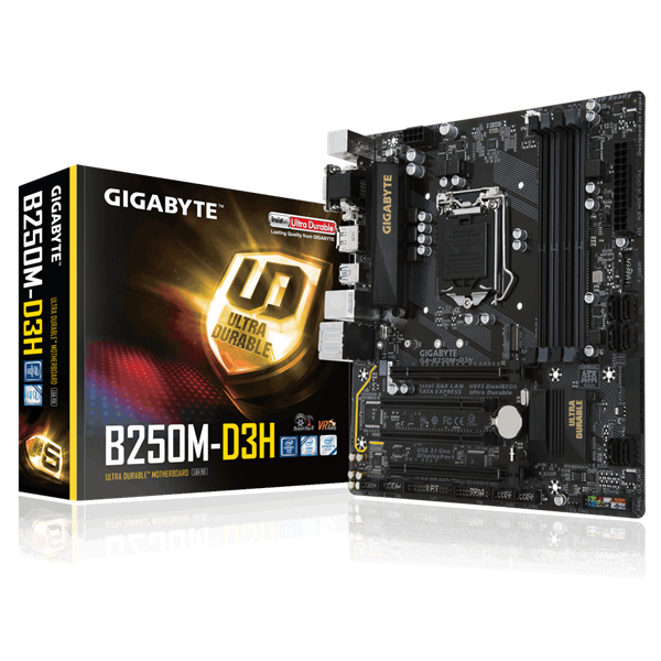 Gigabyte GA-B250M-D3H S1151 (B250, 4xDDR4 2400MHz, 2xPCI-E, 1xGBE LAN, 6xSATA3, 6xUSB2.0, 6xUSB3.1)