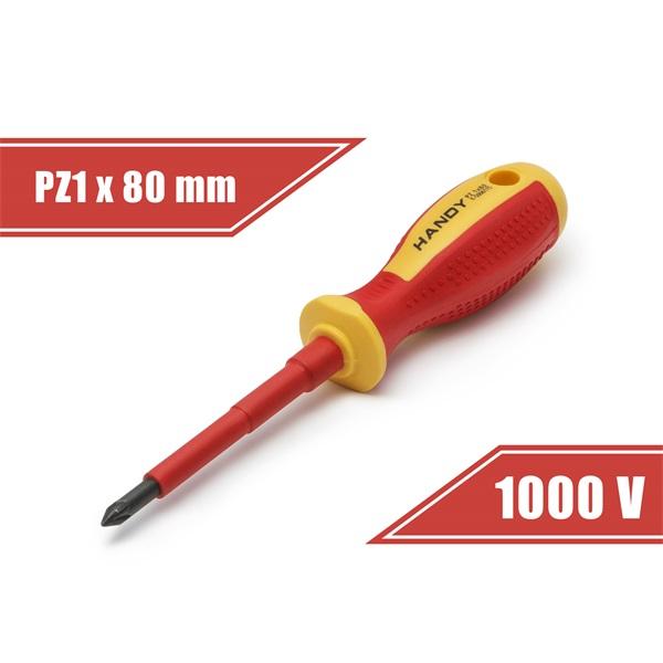 Handy csavarhúzó (10571), PZ1, 80mm, 1000V-ig szigetelt, mágneses fej