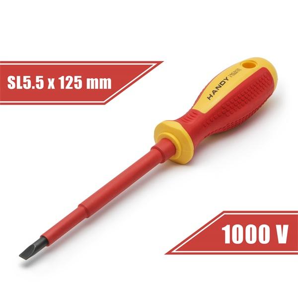 Handy lapos csavarhúzó (10563), 5,5, 125mm, 1000V-ig szigetelt, mágneses fej