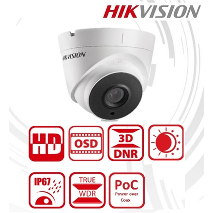 Hikvision Analóg turretkamera - DS-2CC52D9T-IT3E (2MP, 2,8mm, kültéri, EXIR40M, ICR, IP67, WDR, 12VDC/PoC)
