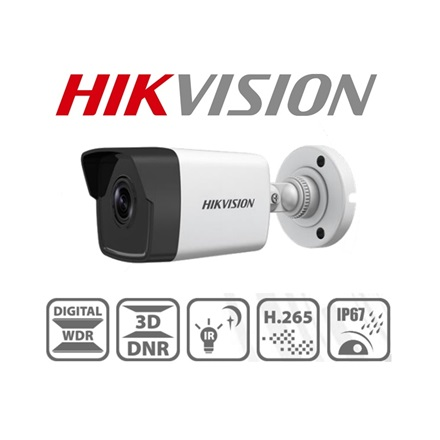 Hikvision IP csőkamera - DS-2CD1023G0-I (2MP, 2,8mm, kültéri, H265+, IP67, IR30m, ICR, DWDR, 3DNR, PoE)