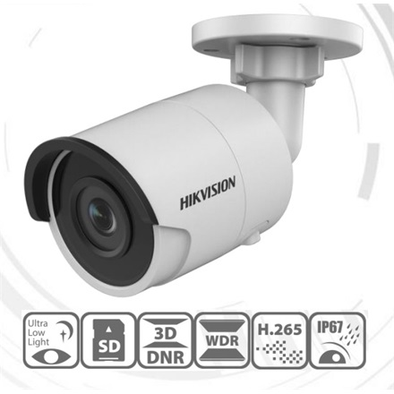Hikvision DS-2CD2035FWD-I IP Bullet kamera, kültéri, 3MP, 2,8mm, H265/H265+, IP67, EXIR30m, D&N(ICR), 3DNR, WDR, SD, PoE
