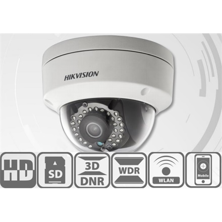 Hikvision DS-2CD2122FWD-I IP Dome kamera, kültéri, 2MP, 2,8mm, H264+, IP66, IR30m, D&N(ICR), 3DNR, WDR, SD, PoE, vand