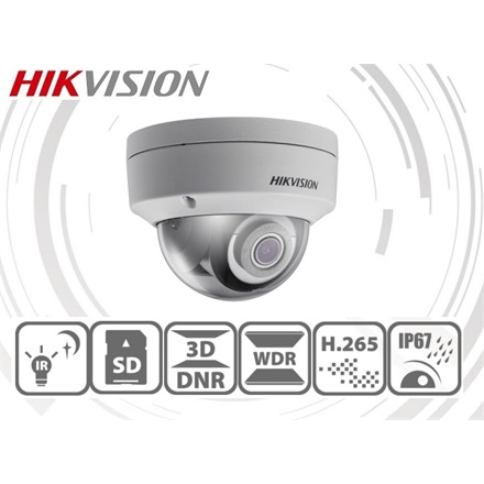 Hikvision IP dómkamera - DS-2CD2123G0-IS (2MP, 2,8mm, kültéri, H265+, IP67, IR30m, ICR, WDR, 3DNR, SD, PoE, IK10, audio)