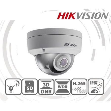 Hikvision DS-2CD2143G0-I IP Dome kamera, kültéri, 4MP, 2,8mm, H265+, IP67, IR30m, ICR, WDR, 3DNR, SD, PoE, IK10