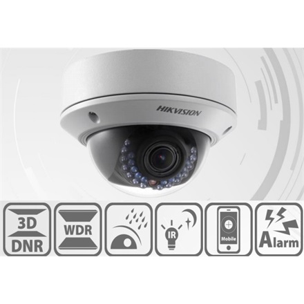Hikvision DS-2CD2722FWD-IS IP Dome kamera, kültéri, 2MP, 2,8-12mm, H264+, IP66,IR30m,D&N(ICR),WDR,BLC,3DNR,SD,PoE,audio