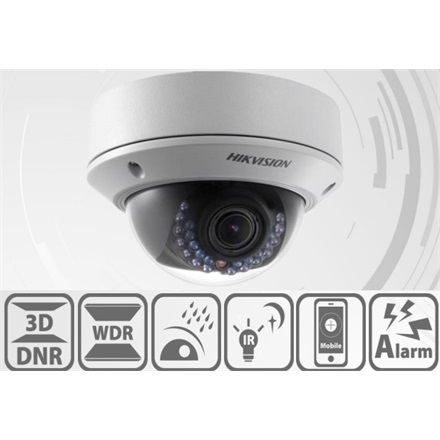 Hikvision DS-2CD2722FWD-I IP Dome kamera, kültéri, 2MP, 2,8-12mm, H264+, IP66, IR30m, D&N(ICR), WDR, BLC, 3DNR, SD, PoE
