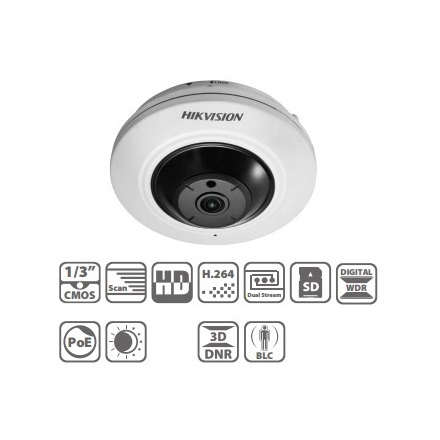 Hikvision DS-2CD2942F IP Fisheye Dome kamera, beltéri, 4MP, 1,6mm, D&N, DWDR, 3DNR, PoE, SD