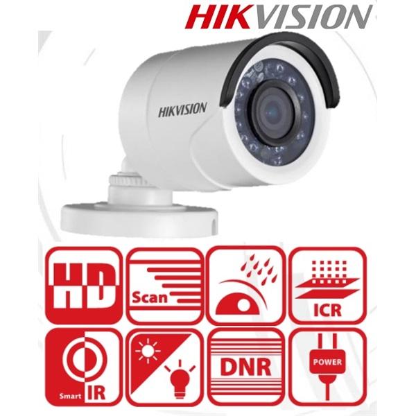 Hikvision DS-2CE16C0T-IRF Bullet kamera, kültéri, 720P, 3,6mm, IR20m, D&N(ICR), IP66, AHD/CVI/TVI/CV