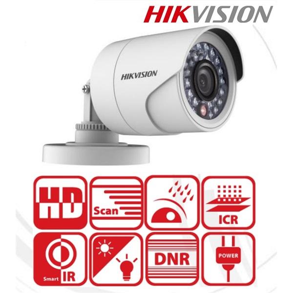 Hikvision DS-2CE16C0T-IRPF Bullet kamera, kültéri, 720P, 3,6mm, IR20m, D&N(ICR), IP66, műanyag, AHD/