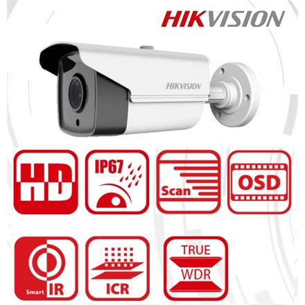 Hikvision Analóg csőkamera - DS-2CE16D8T-IT3 (2MP, 2,8mm, kültéri, EXIR40m, ICR, IP67, DNR, BLC, WDR)