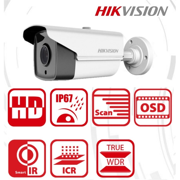 Hikvision DS-2CE16D8T-IT3 Bullet HD-TVI kamera, kültéri, 2MP, 3,6mm, EXIR40m, ICR, IP67, DNR, BLC, W