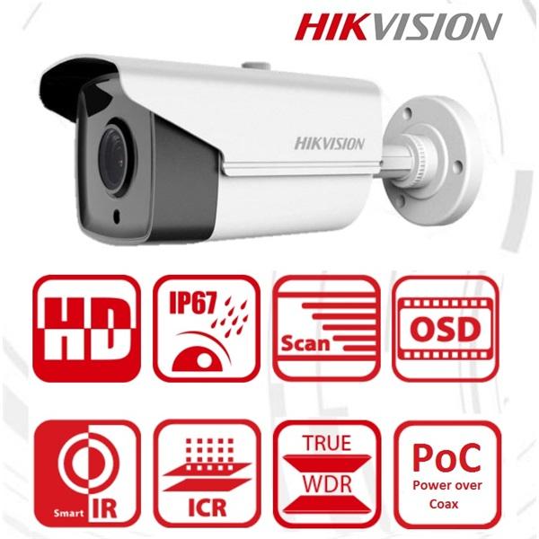 Hikvision DS-2CE16D8T-IT5E Bullet HD-TVI kamera, kültéri, 2MP, 3,6mm, EXIR80m, ICR, IP67, DNR, BLC,