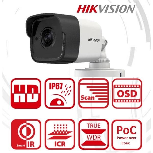Hikvision DS-2CE16D8T-ITE Bullet HD-TVI kamera, kültéri, 2MP, 3,6mm, EXIR20m, ICR, IP67, DNR, BLC, W