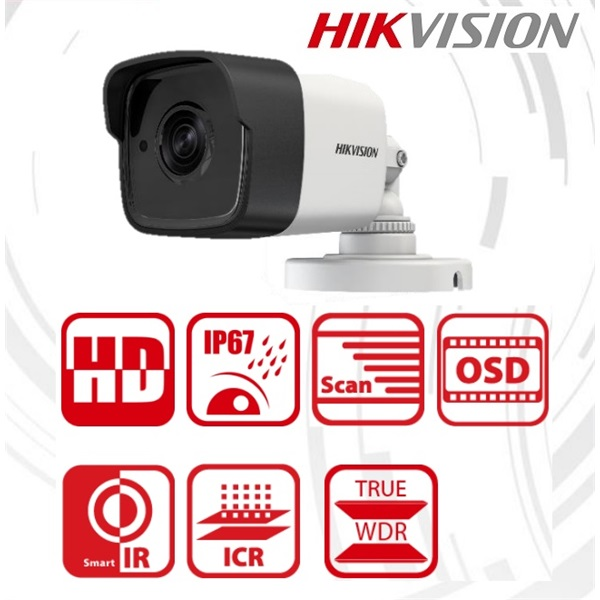 Hikvision DS-2CE16D8T-IT Bullet HD-TVI kamera, kültéri, 2MP, 3,6mm, EXIR20m, ICR, IP67, DNR, BLC, WD
