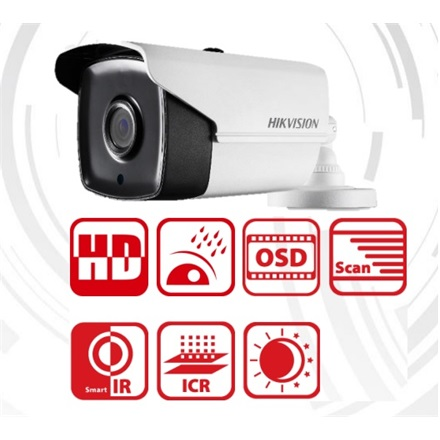 Hikvision DS-2CE16F1T-IT5 Bullet HD-TVI kamera, kültéri, 3MP, 6mm, EXIR80m, D&N(ICR), IP66, DNR, BLC